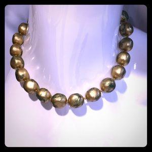 Vintage Les Bernard gold wash bead necklace